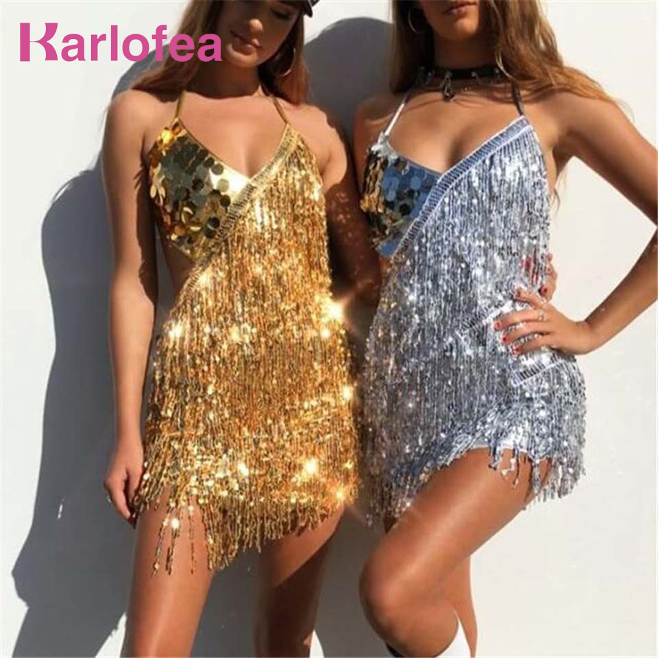 Buy Karlofea Fashion Sexy Outfit Party Dress Sexy Halter Backless Tassel Short Dress Sequin Fringe Vestidos Festival Party Dresses