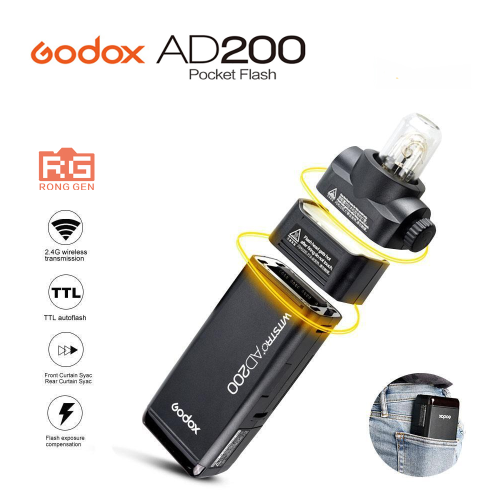 GODOX AD200 TTL 2.4G HSS 1/8000s Pocket Flash Light Double Head 200Ws with 2900mAh Lithium Battery Flashlight Flash