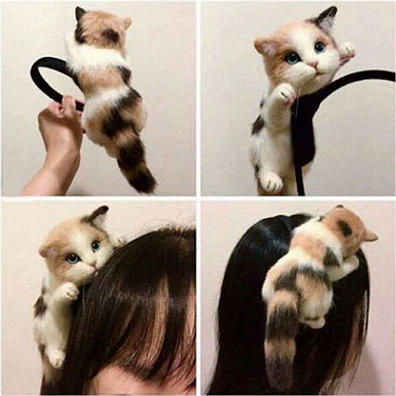Dropshipping Fashion Korean Women Hair Hoop Simulated Cat Hairband Handmade Ladies Girls Party Headwear Hairs Accessories SMJ