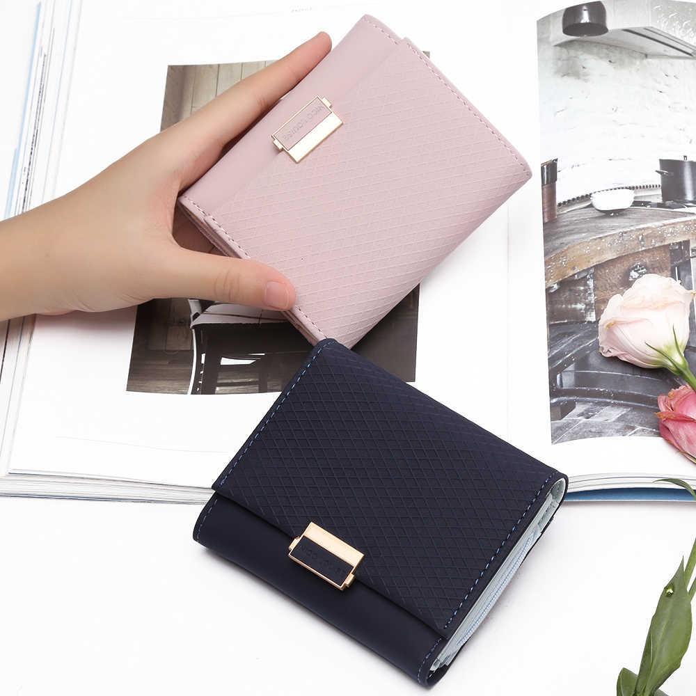 2018 carteira de luxo feminina couro bolsa de couro xadrez carteira senhoras mudança quente titular do cartão moeda pequenas bolsas para meninas