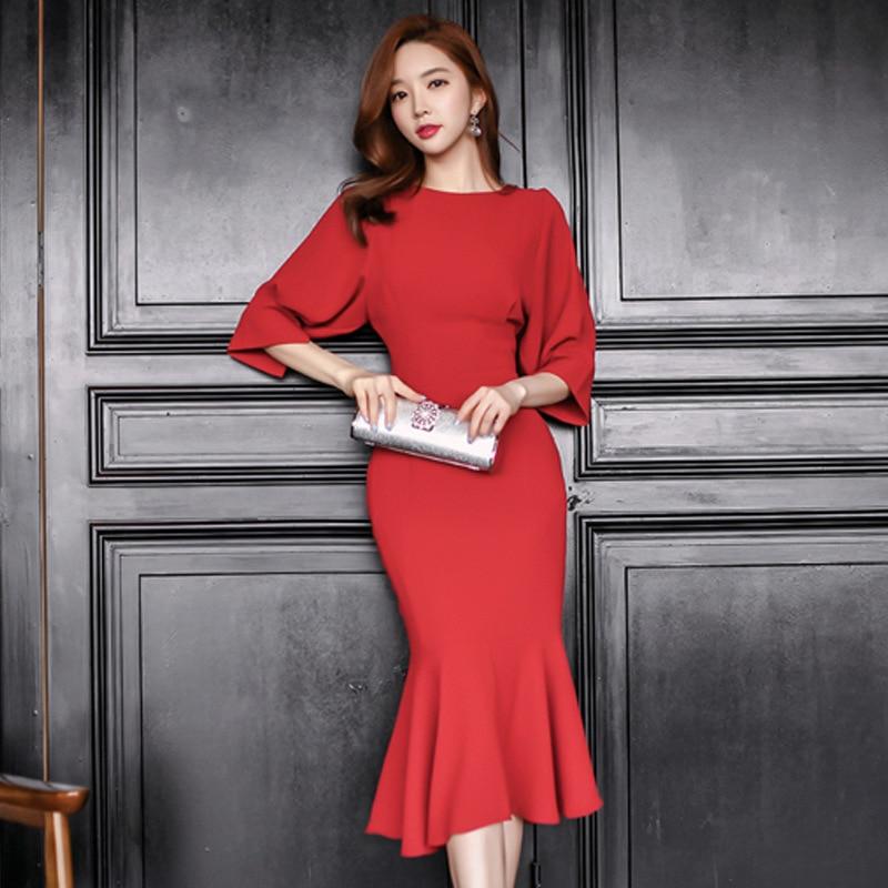 370793e44b5 LYFZOUS Zarif Ofis Mermaid Elbise Kadınlar Aristokrat Zarif Kırmızı Uzun  3 4 Kollu Elbiseler Seksi
