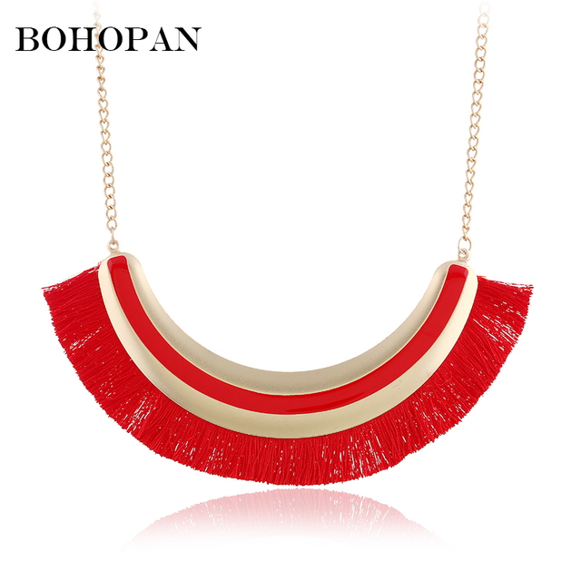Boho Ethnic Tassel Necklace For Women Statement Fashion Jewelry Long Necklace 5 Color Female Wedding Gift collier femme 2018