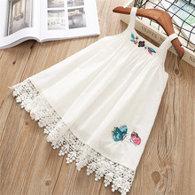 Hurave camis lace dress baby Girl clothes Summer sleeveless Kids Clothes Casual embroidery solid A-line cotton dresses