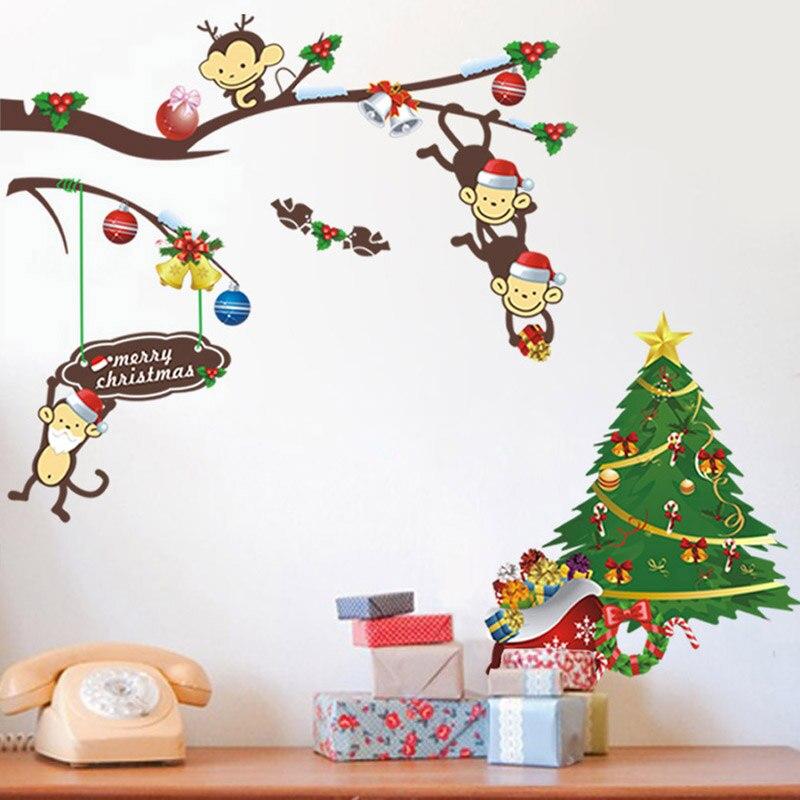 pvc colorido lindo mono y rbol de navidad etiqueta de la pared decoracin de la casa