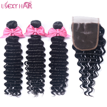 USEXY HAIR Brazilian Deep Wave Weave Hair With Closure Non Remy Human Hair Weave Weft 3 Bundles With 4×4 Lace Closure 4Pcs/Lot
