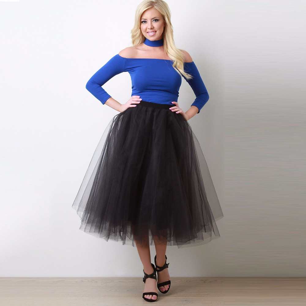 Black White Puffy Rigid Tulle Skirts For Women Mid Calf Tulle Skirt Length 85 CM Elastic Style Color Free High Quality