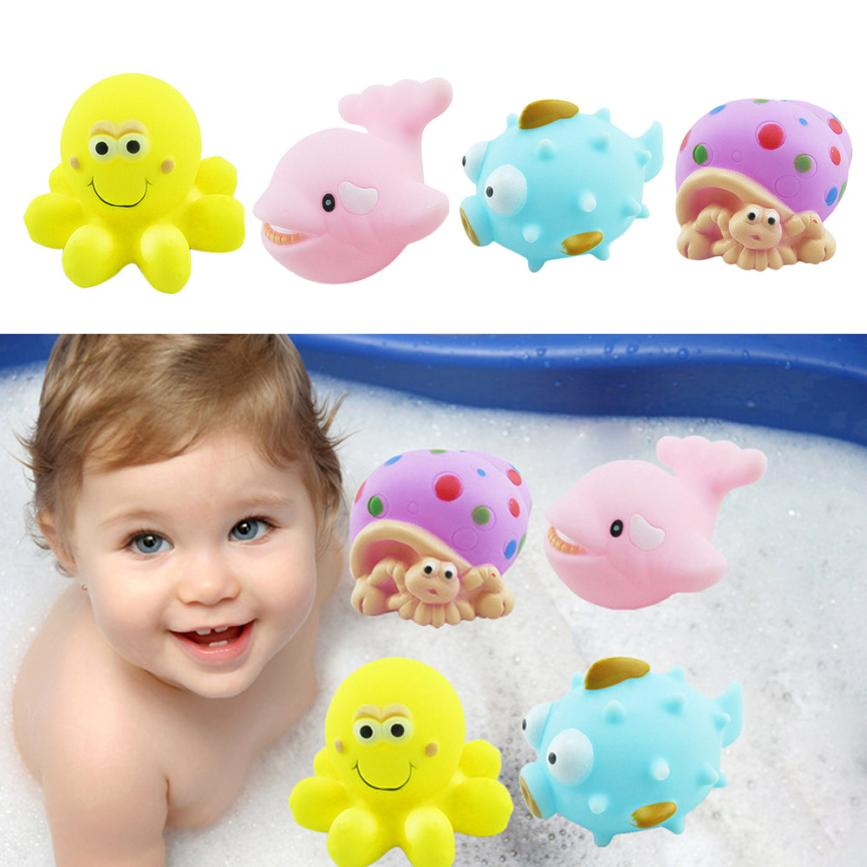 One Dozen 4pcs Rubber Animals With Sound Baby Shower Party Favors Toy Drop Shipping Y830