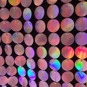 Image 3 - 64 шт. Серебряная голограмма фоновая доска с ПЭТ круглые Блестки для свадебных фонов сценические декоративные пластины панели