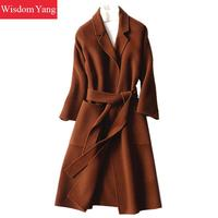 Elegant Winter Coat Sheep Wool 2018 Coats Black Brown Womens Plus Long Oversize Covered Woman Sashes Woolen Overcoat Outerwear