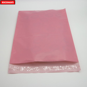 Image 2 - 100x logo Bedruckte Baby Rosa Farbe Schulranzen Post Taschen Poly Mailing Taschen für Kleidung Shop Verschiffen Einkaufen