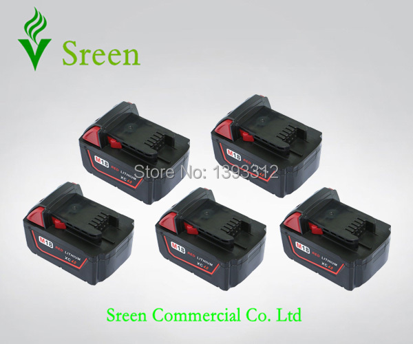 5PCS New 4000mAh 18V Rechargable Lithium Ion Replacement Power Tool Battery for Milwaukee M18 XC 48-11-1828 M18B Cordless Drill replacement power tooll battery for milwaukee 18 volt 4 0ah 48 11 1828 m18 xc red lithium high capacity battery