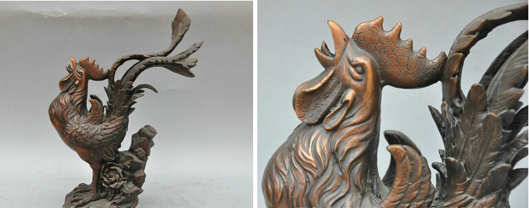 JP S1150 12' China Bronze Animal Chicken Rooster Crowing Rooster Sculpture Statue