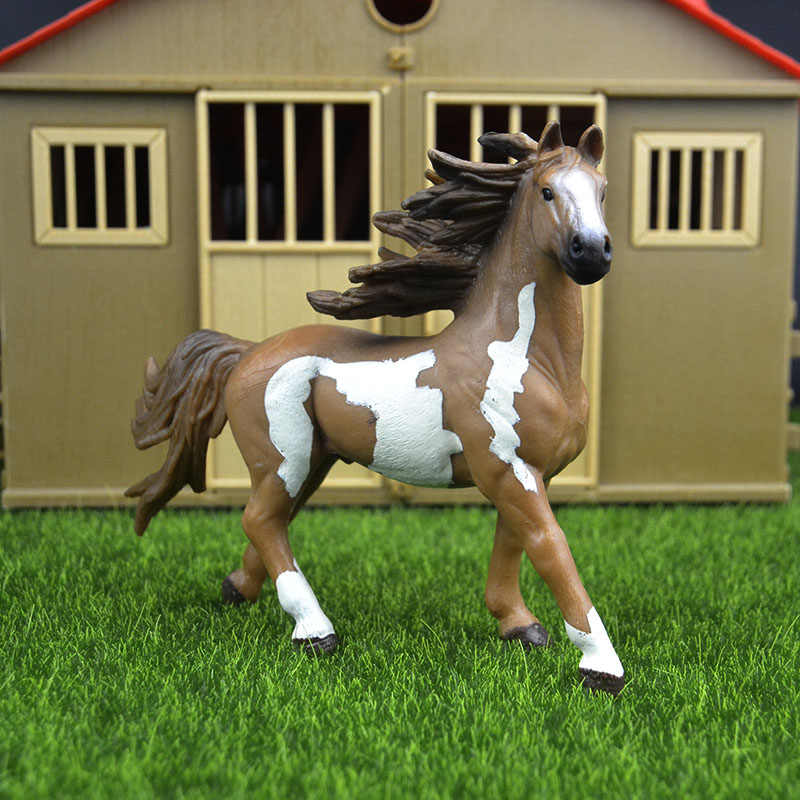 Original genuine Wild farm Animal Pint stallion horse Figurine figure Model kids toy collectible