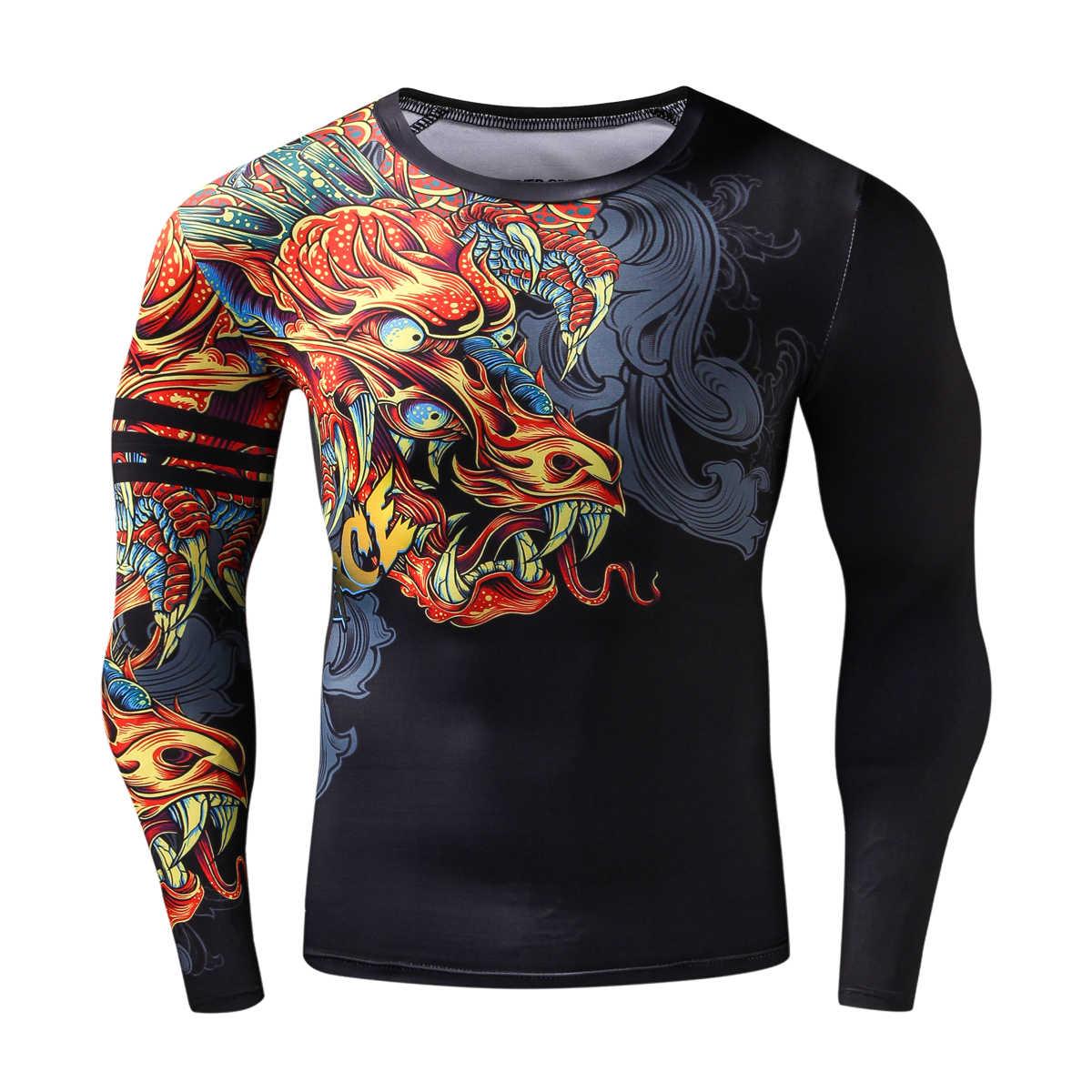 スポーツマンシャツ 3D ドラゴンジム服ジム S-2XL フィットネス男性クロスフィットプラスサイズジャージボディービル zrce 圧縮シャツ