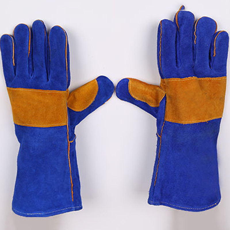New 2018 Welding Two-Layer Fire-Resistant Welding Gloves Leather Gloves Fire Gloves High Temperature Resistance Wear-Resistant leather welding aprons wear insulated