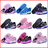 Kids Glowing Sneakers with wheels Led Light up Roller Skates Sport Luminous Lighted Shoes heelies Zapatillas Zapatos Con Ruedas