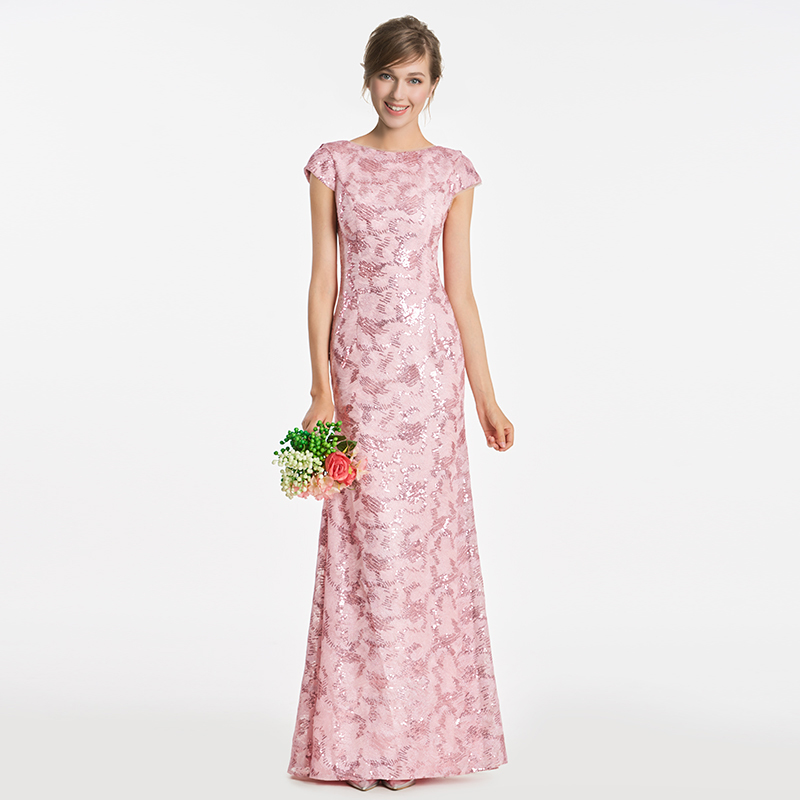 Tanpell Bateau Bridesmaid Dress Pink Cap Sleeves Floor Length Gown Women Wedding Party Formal Sheath Long Bridesmaid Dresses