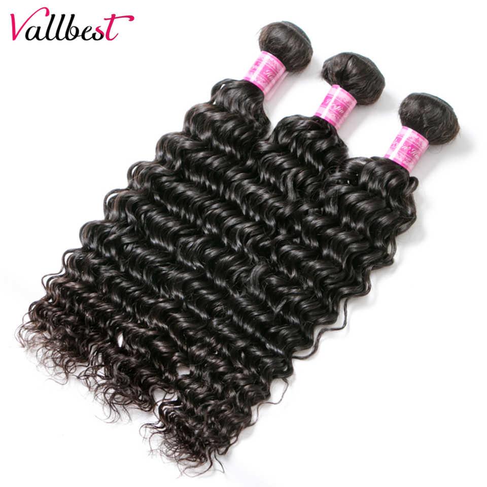 Vallbest, глубокая волна, пряди, с закрытием, бразильские волосы, плетение, 3 пряди, на шнуровке, Remy, человеческие волосы, пряди с закрытием