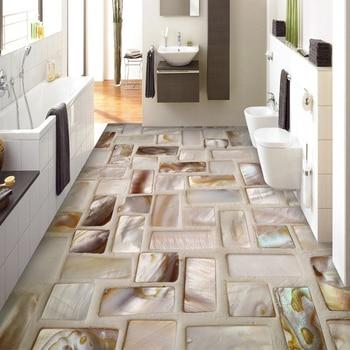 Custom Photo Wallpaper 3D Tiles Mosaic Floor Art Mural PVC Waterproof Self-Adhesive Bathroom Restaurant Kitchen Floor Sticker 3D цена 2017