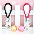 MILESI One Pair of 3D Obesity Metal Pig with Bell Couple Keychain Bag Pendant Car Keyring Key Holder K0213