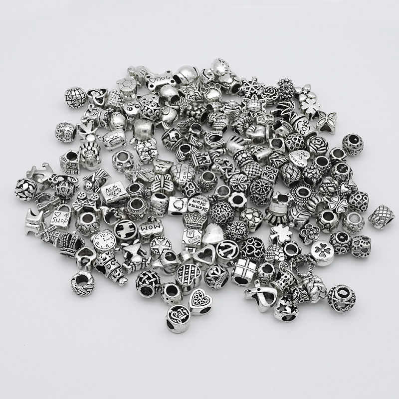 Aleatoriamente Mista Contas Fit Pandora Encantos de Prata Antigo do Metal de Liga de Zinco Encantos DIY Spacer Beads & Jewelry Making 30 pçs/lote