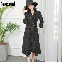 Nerazzurri High low dress women with sleeves long midi elegant notched lapel plus size striped work office dress with belt 5xl(China)