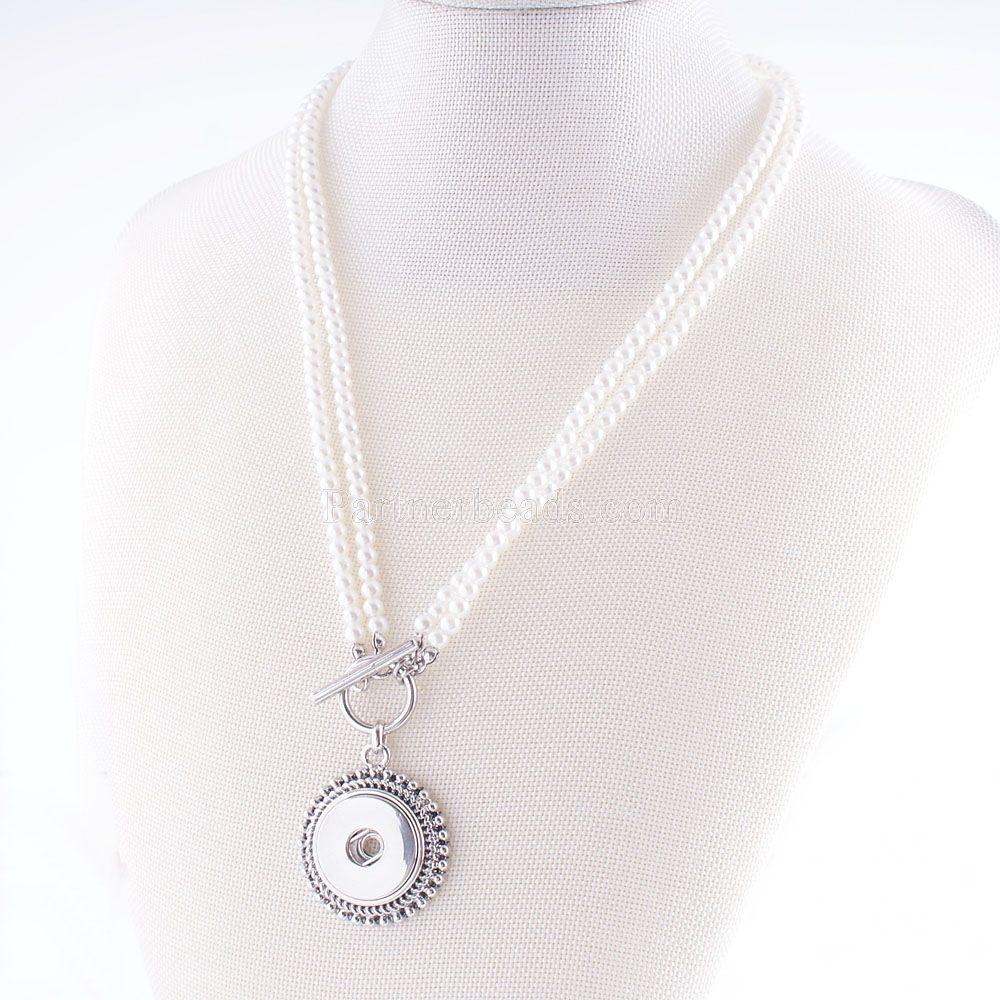 2016 NEW Elegant Imitation pearls Snap necklace&bracelets fit DIY 18MM ginger snap buttons jewlery wholesale women KC0926