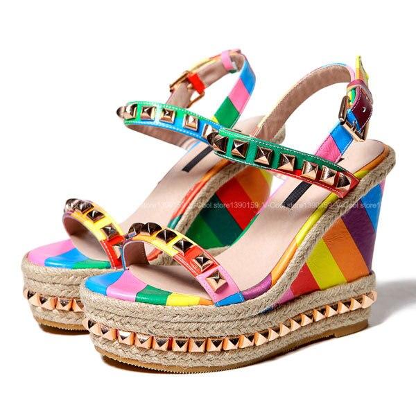 Aliexpress.com Comprar Vestido de verano Mujeres Del Partido Plataforma  Zapatos de Cuña Sandalias de Las Muchachas Étnicas Glitter Plataforma  Sandalias