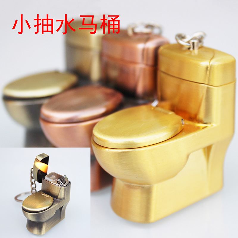 Image 5 - New Butane Lighter Creative Compact Funny Toys Toilet Gas Lighter Key Chain Inflated Toilet Bowl Key Chain Lighter Bar Metal-in Matches from Home & Garden