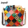 AEQUEEN Women Crossbody Messenger Bags Genuine Leather Patchwork Sheepskin Casual Female Shell Shoulder Bags Random Color