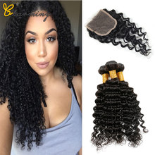 CHARMING Hair Deep Wave Human Hair Bundles With Closure 4 pcs/lot Brazilian Hair Weave Bundles With Closure Hair Extension(China)