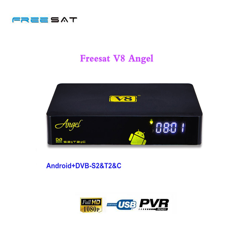 Freesat V8 Angel Satellite TV Receiver Digital Android 1G+8G Kodi Iptv Box Support AC3 CCCAM Power vu Biss DVB-S2/T2/C Combo i box rs232 dvb s satellite smart sharing nagra 3 dongle black
