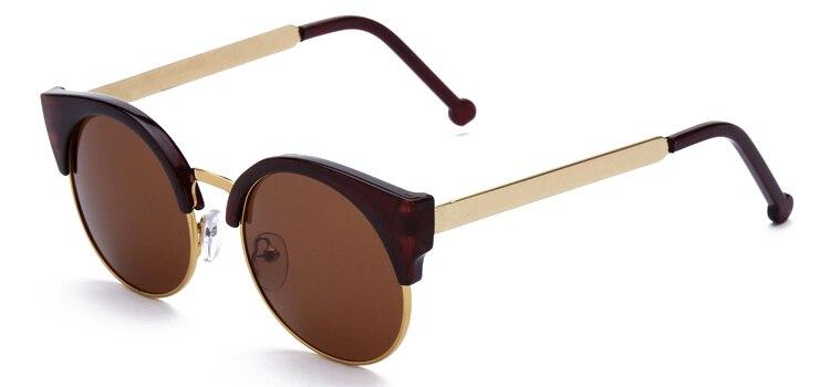 Женские очки, кошачий глаз, очки, Ретро стиль, половинная оправа, металлические оправы для очков, по рецепту, оптическая близорукость, компьютерные прозрачные очки - Цвет оправы: Brown sunglasses