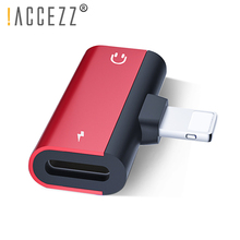 !ACCEZZ Audio Charge Dual Lighting Adapter For iPhone 7 X MAX Fast Charging Listening Calling Converter Splitter Double 8pin OTG