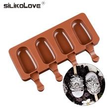 SILIKOLOVE 4 dobuma silikona veidnes saldējuma veidne Nejauša saldētava Droša želejas pudiņš padarot kūka caurules paplāti ar nūjām
