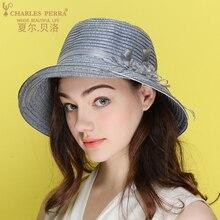 Charles Perra Sun Hats Female Anti-UV Spring Summer New Foldable Women Sunscreen Straw Hat Fashion Elegant Beach Caps 8533