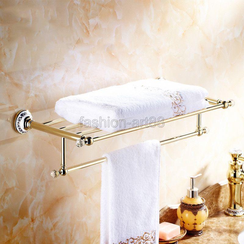ФОТО Bathroom Accessory Luxury Golden Gold Color Brass Wall Mounted Bathroom Towel Rail Holder Storage Rack Shelf Bar aba256