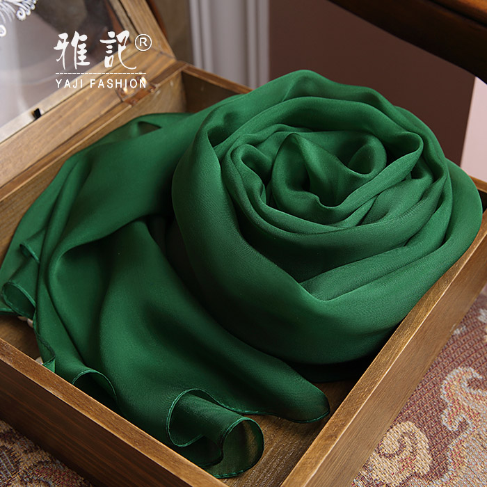 Genuine Silk Women Scarf 2017 Summer Autumn Winter High Quality Shawl 200 * 65 cm Fashion Dark green Solid Color Scarves