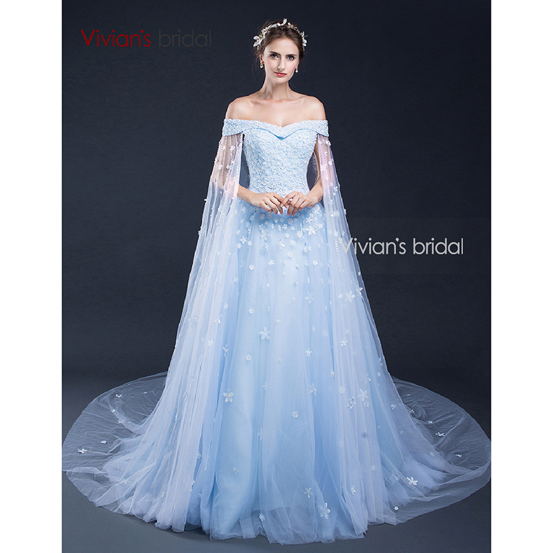 Vivian's Bridal Off Shoulder Evening Dresses with Capes Beads Flowers Tulle Formal Evening Gown SQ50525(China)