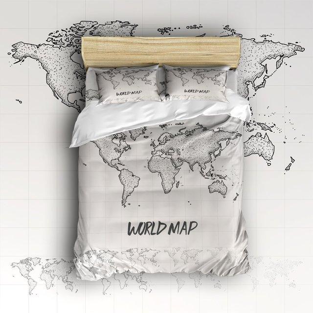 World Map Sheet Set.4 Piece Bed Sheets Set Simple Hand Painted World Map 1 Flat Sheet