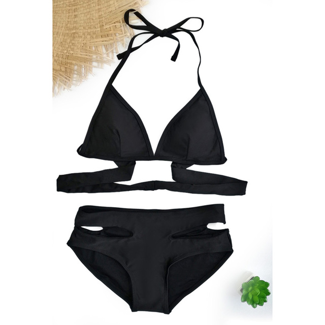 2019 Push-Up Bikinis Sexy black bandage design Halter bikini swimsuit women High Waist  Women's swimwear swimming trunks D083 1