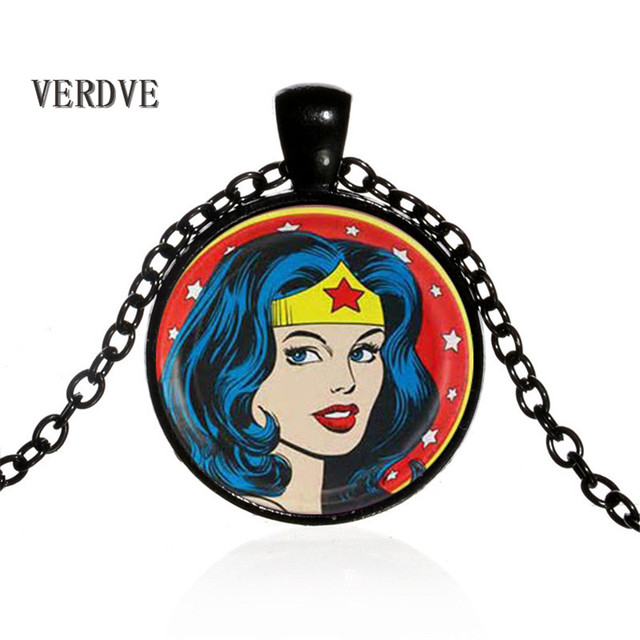 Wonder Woman Movie Logo Pendant Comic Geek choker Necklace with Marvel Super Heroes Jewelry for women and men gift