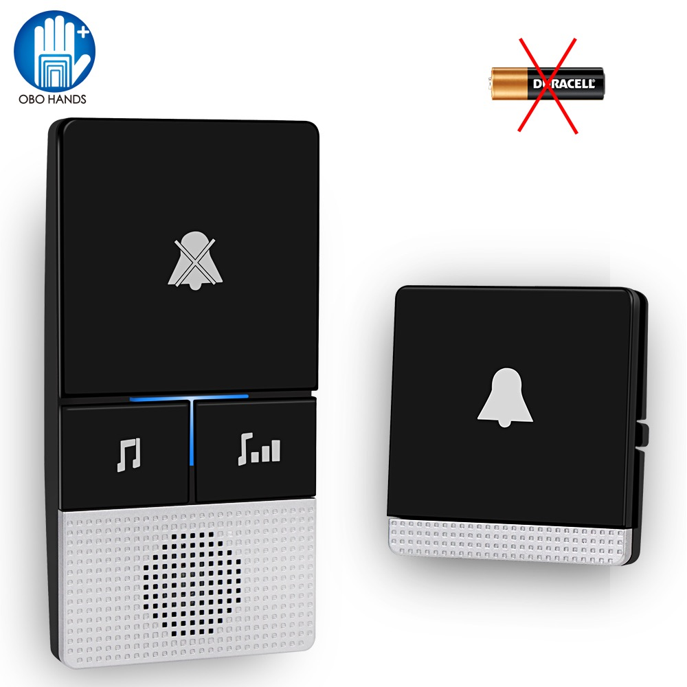Self Powered Wireless Doorbell 433 MHz Remote Control Door Bell No Battery Home Cordless Door Ring 1 2 Transmitter 1 2 Receiver