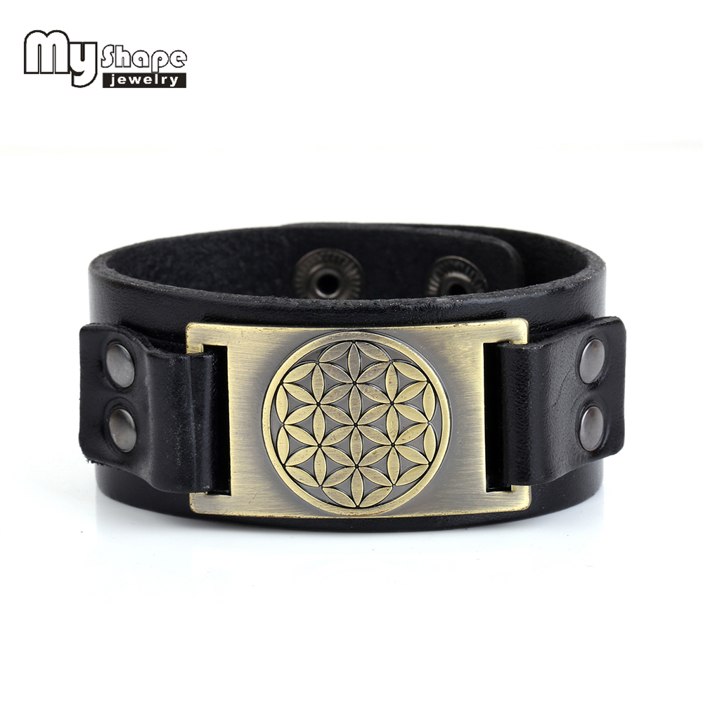 my shape Flower of life leather bracelet bangles for women men indian jewelry love bracelet christmas Gift Snap Button Jewelry