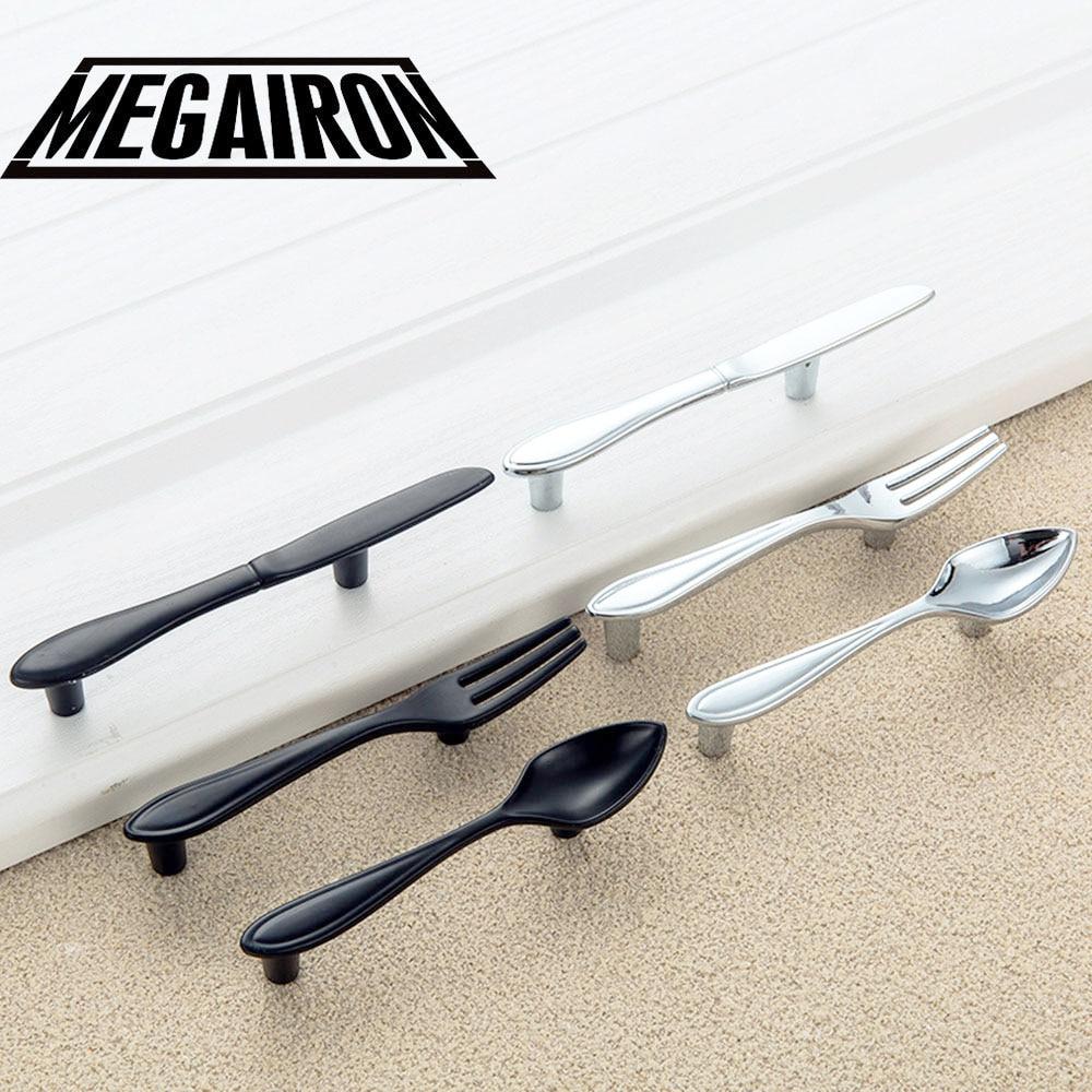 MEGAIRON Creative Knife Spoon Fork Design Kitchen Cabinet Handles Unique  Cupboard Knobs Fashion Drawer Knobs Kitchen Handles