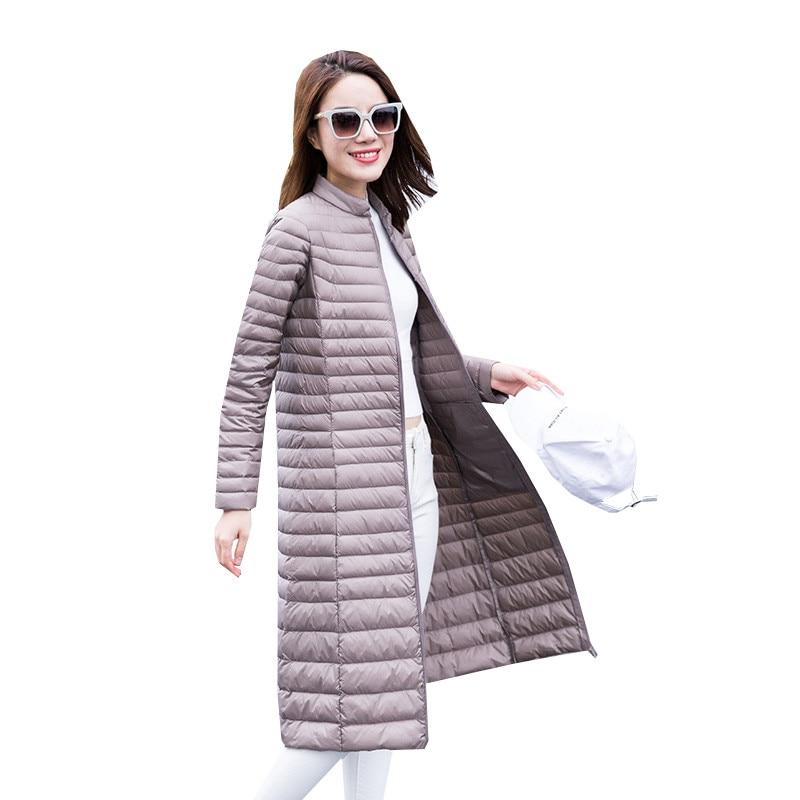 2018 Autumn Winter Women White Duck Down Coat Parkas Ultra Light Down Jacket Ladies Warm Slim Long Outerwear Plus Size 4XL A1129