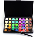 Conjunto profesional Del Maquillaje Suave Cepillo de Sombra de Ojos Profesional Polvo de Minerales 40 Colores de Sombra de Ojos Brillo Paleta de Maquillaje Nude