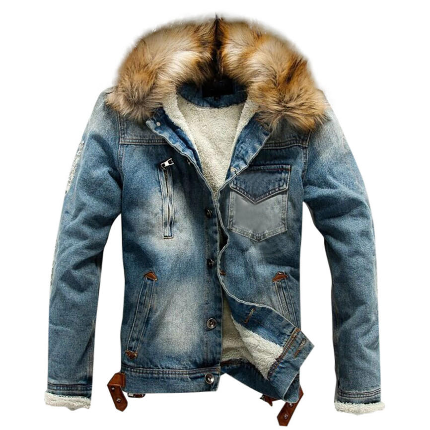 Jean Jacket With Fur Men's Autumn Winter Jacket Many Pockets Button Rinsing Flick Denim Hooded Top Men's Denim Jacket Cotton