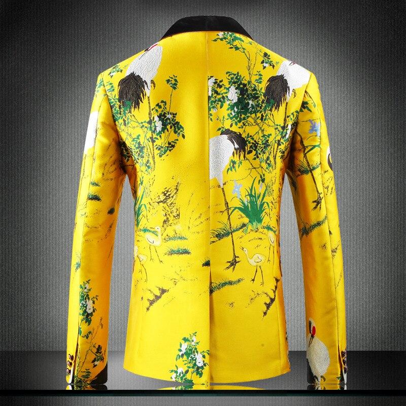 Желтый пиджак, роскошный мужской блейзер с принтом, приталенный, Цветочный, для мужчин, одежда для сцены, Блейзер, стильный, вечерние, для сва... - 2