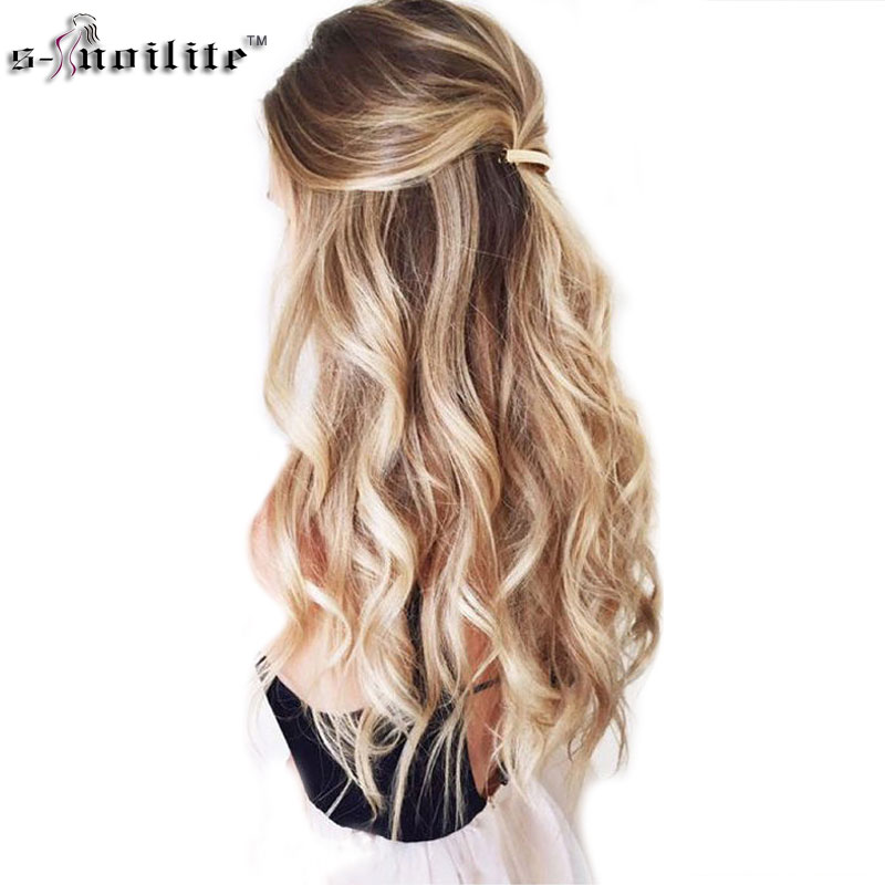 SNOILITE 24inch 8pcs/set curly 18 Clips in False Hair Styling Synthetic Hair Extensions Hairpiece Cosplay Extension for Human